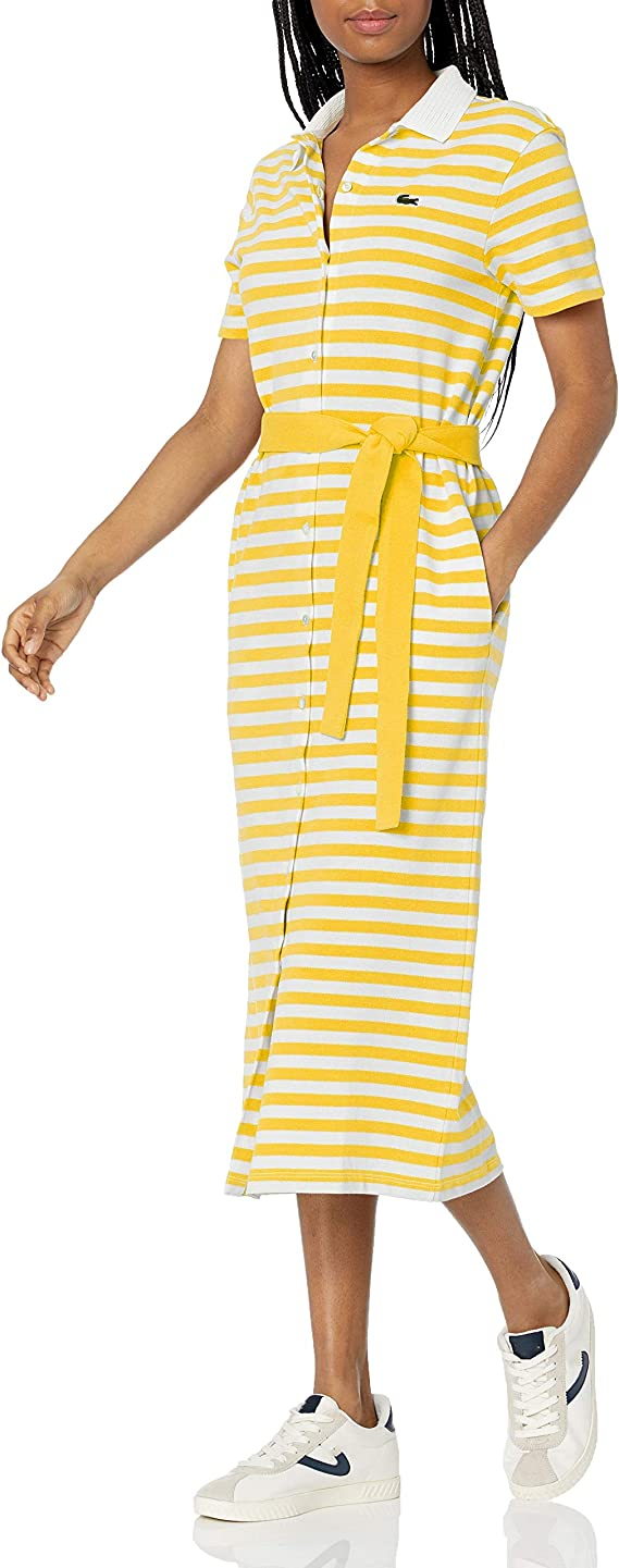 Lacoste 法国鳄鱼 女式条纹POLO连衣裙 4码3.6折$66.52 海淘转运到手约¥453