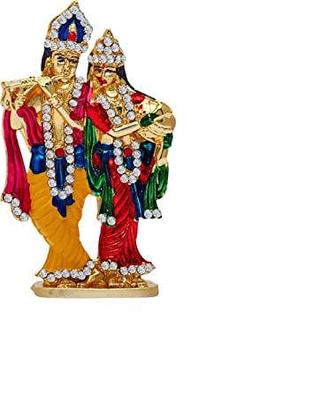 89cee7600 Buy Grow n Shine Radha Krishna Metal With Crystal Diamond Studded God Idol  Showpiece Online at Low Prices in India - Amazon.in