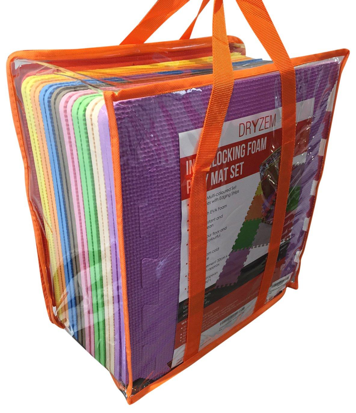 Juego de alfombras de goma EVA suave con bolsa de transporte, de Dryzem. Alfombras encastrables para juego de niños. CAJCOM Ltd