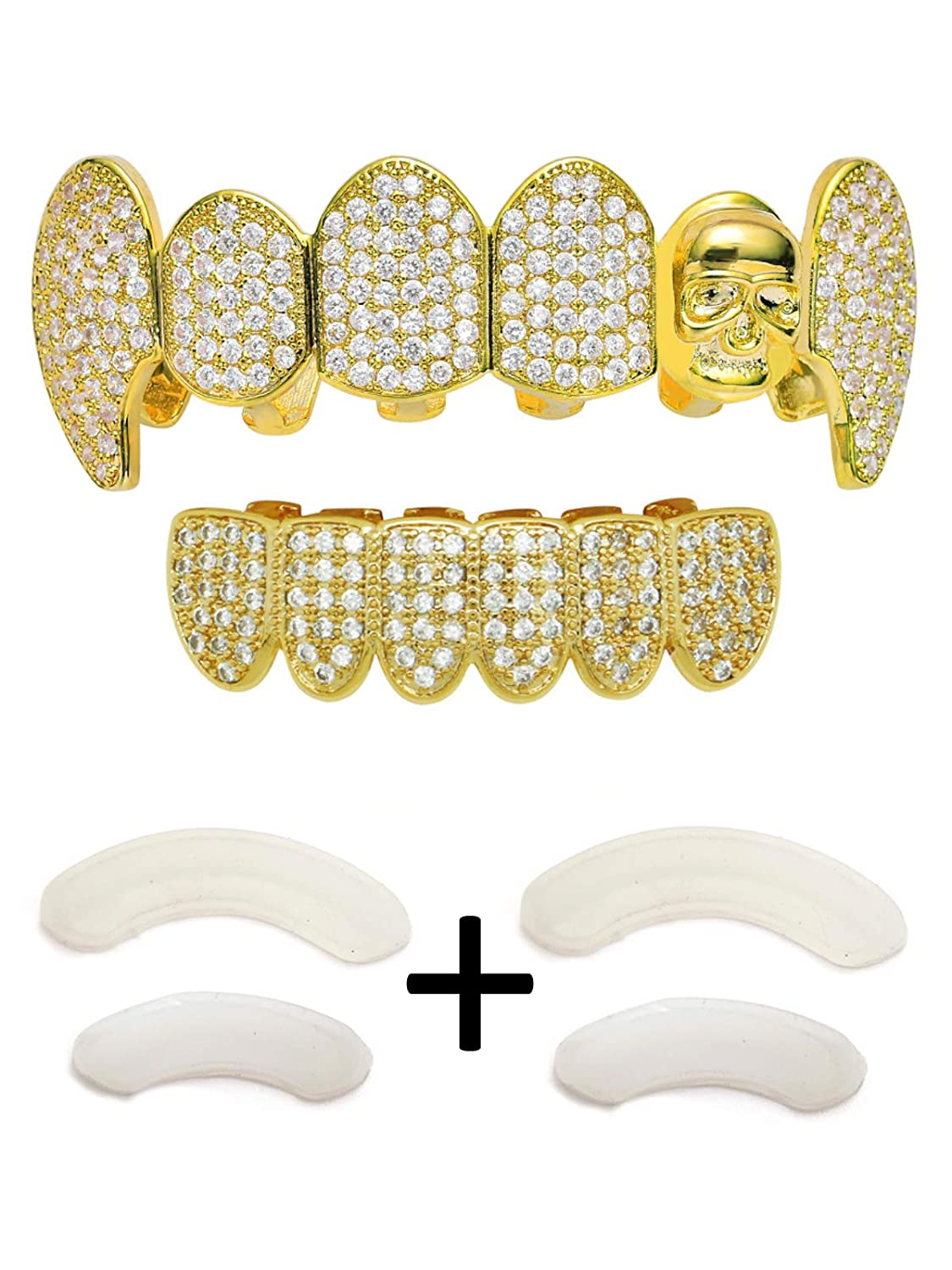 TSANLY Grillz Skull Fangs Grills Iced Out CZ Diamond Top&Bottom Set Vampire Grill Hip Hop Grillz Gift for Halloween + 2 Extra Molding Bars Charly Shop