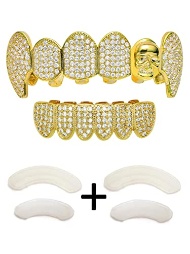 Amazon.com  TSANLY Gold Grillz Skull Fangs Grills Iced Out CZ ... 419f39422