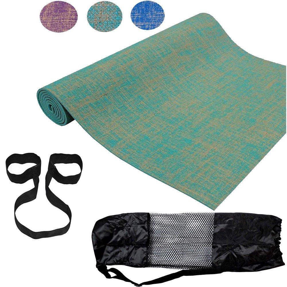 ROMIX Esterilla Yoga Gruesa Alfombras de Fibra de Yute de Reversible Ecologica 182cm No tóxico para Deporte Fitness Ejercicios, Gimnasio, Pilates ...