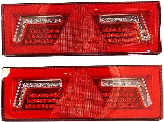 2x Led 12 24v Rückleuchte Blinker Lauflicht Mit 5 Funktionen 375x135mm E Prüfezeichen Anhänger Lkw Hochwertig 96 Leds Auto
