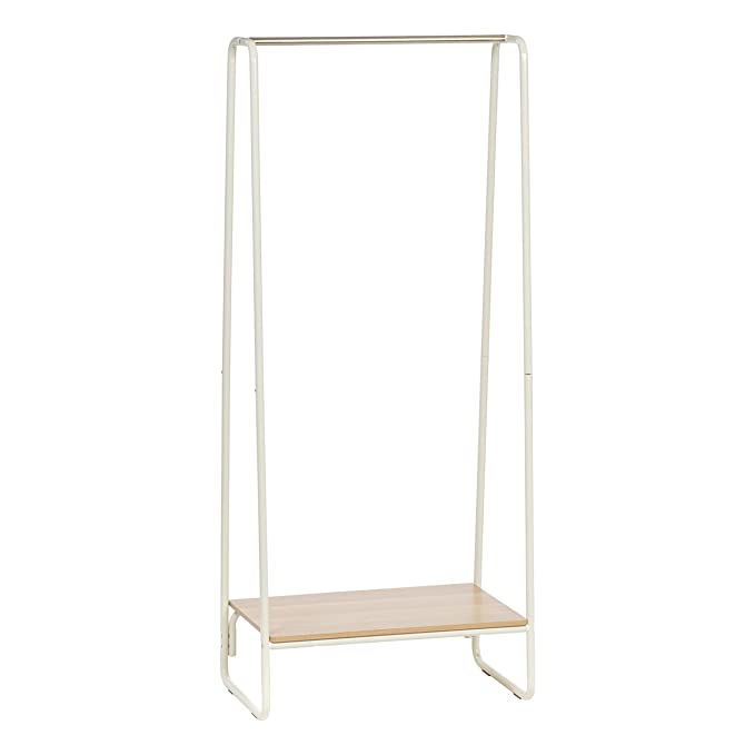 Amazon.com: IRIS Metal Garment Rack with Wood Shelf, White ...