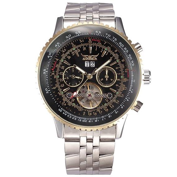 YISUYA Jaragar Reloj de lujo para hombres Militar Tourbillon mecánico relojes Stell reloj de pulsera para