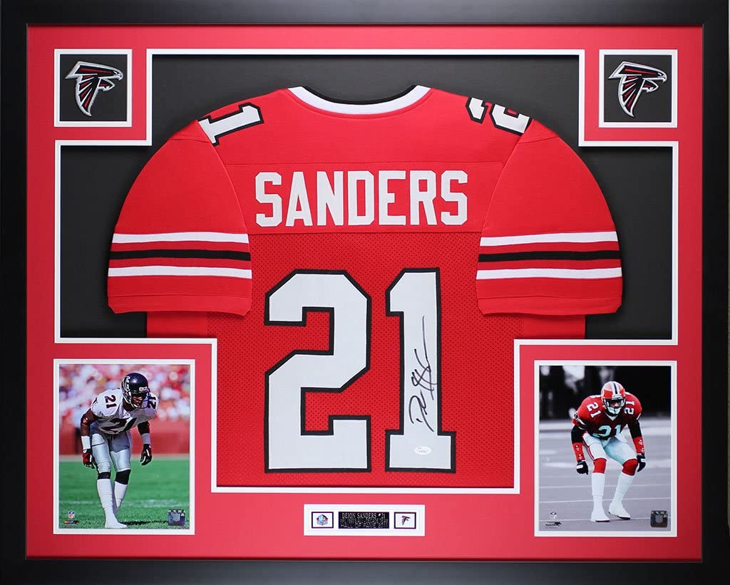 Amazon.com: Deion Sanders Autographed Red Jersey - Beautifully ...
