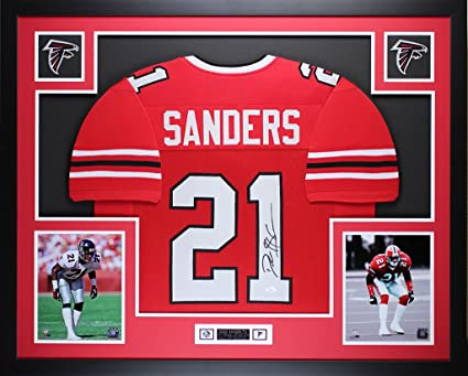 49c2cf6f Deion Sanders Autographed Red Falcons Jersey - Beautifully Matted ...