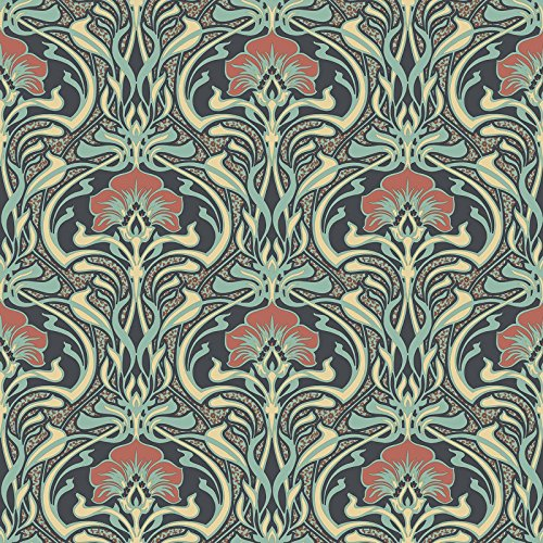 Crown Archives Flora Nouveau Wallpaper Peacock Green M1196