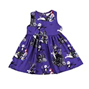 XiaoReddou Baby Girls Halloween Dress Cartoon Ghost Sleeveless Skirt (Dark Purple, 2-3 Years)