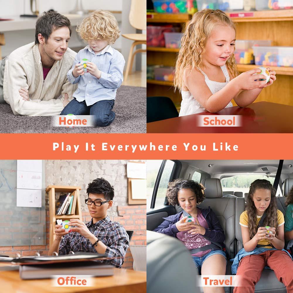 D-FantiX Rainbow Puzzle Ball 4 Pack, Magic Rainbow Ball Puzzle Cube Fidget Balls Puzzle Brain Games Fidget Toys for Adult Kids White by D-FantiX (Image #5)