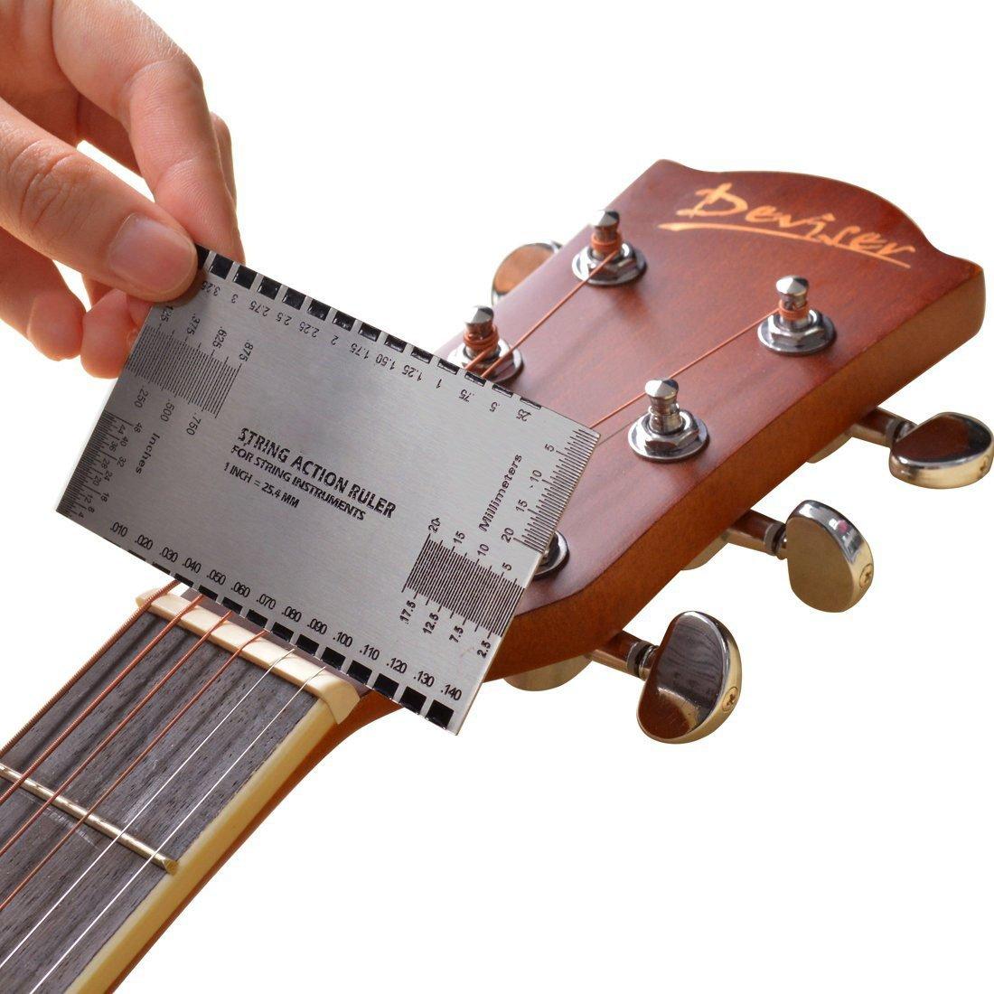 TYKusm International Messger/ät Standard Saiten Action Lineal Gauge Guitar Luthier Tool Silber