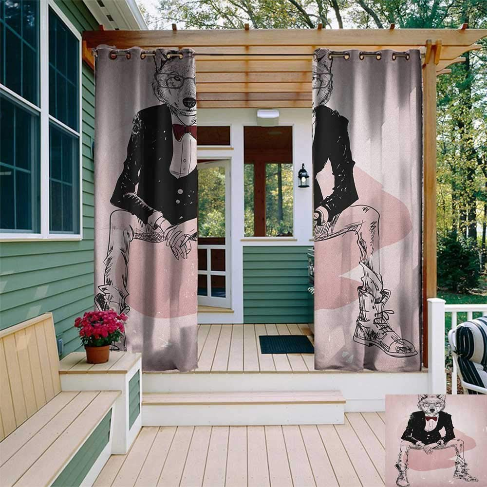 leinuoyi Indie, Outdoor Curtain Extra Wide, Hipster Portrait of Sitting Wild Wolf with Glasses Smart Casual Outfit, Fashions Drape W120 x L96 Inch Baby Pink Black Burgundy by leinuoyi
