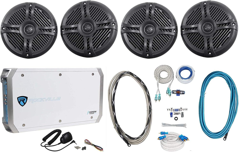 """(4) Rockville RMSTS65B 6.5"""" 1600w Marine Boat Speakers+4-Ch Amplifier+Amp Kit"""