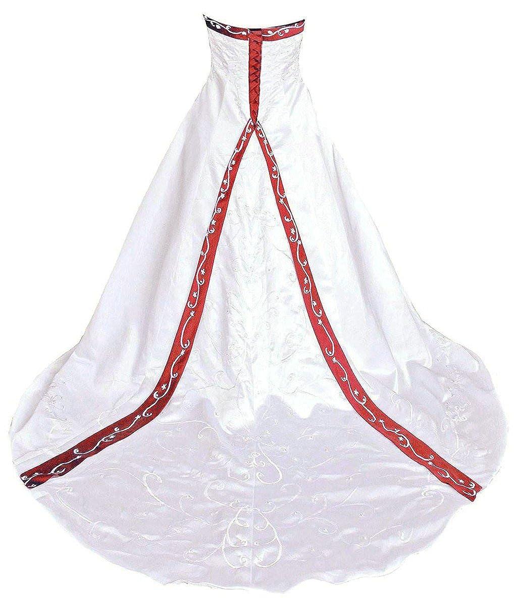 Ivory & Red Vantexi Women's Elegant Strapless Embroidery Wedding Dress Bridal Gown