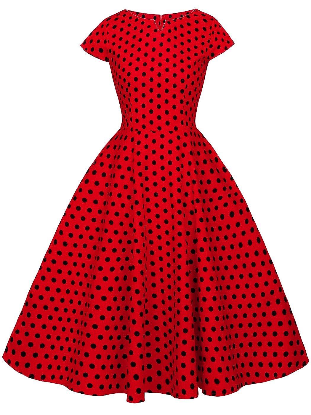 TALLA S. FAIRY COUPLE 1950S Vintage Rockabilly Lunares Cap Mangas Vestido de Baile DRT019 Rojo Pequeña Negro Puntos