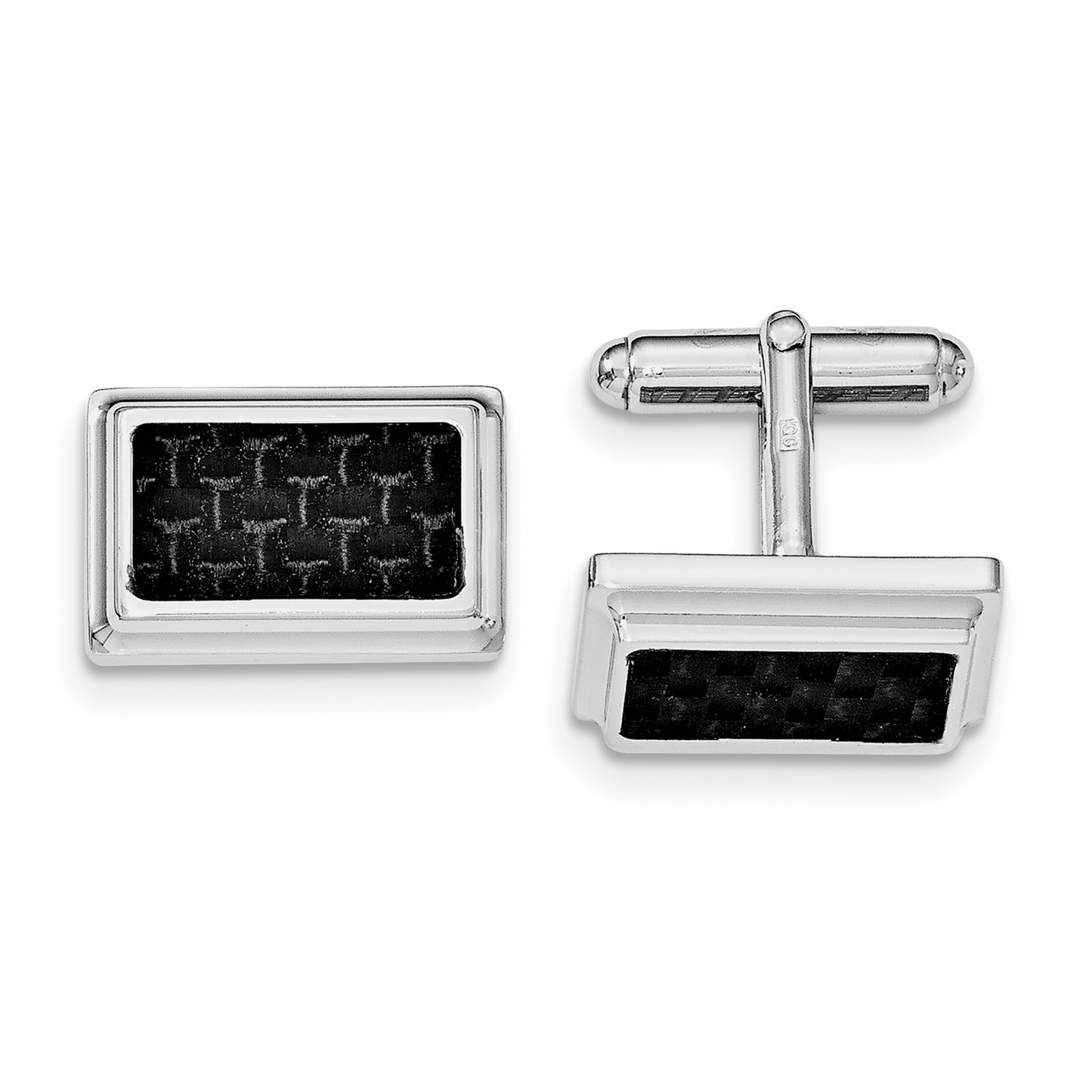 ICE CARATS 925 Sterling Silver Cuff Links Mens Cufflinks Carbon Fiber Man Link Fine Jewelry Dad Mens Gift Set
