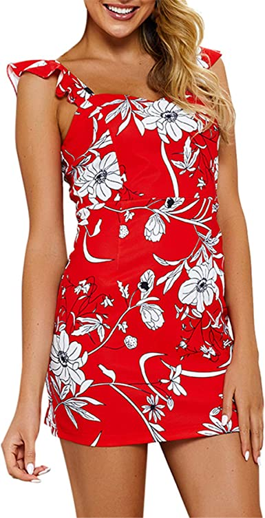 UK Womens Cami Floral Bodycon Vintage Holiday Ladies Summer Beach Mini Sun Dress