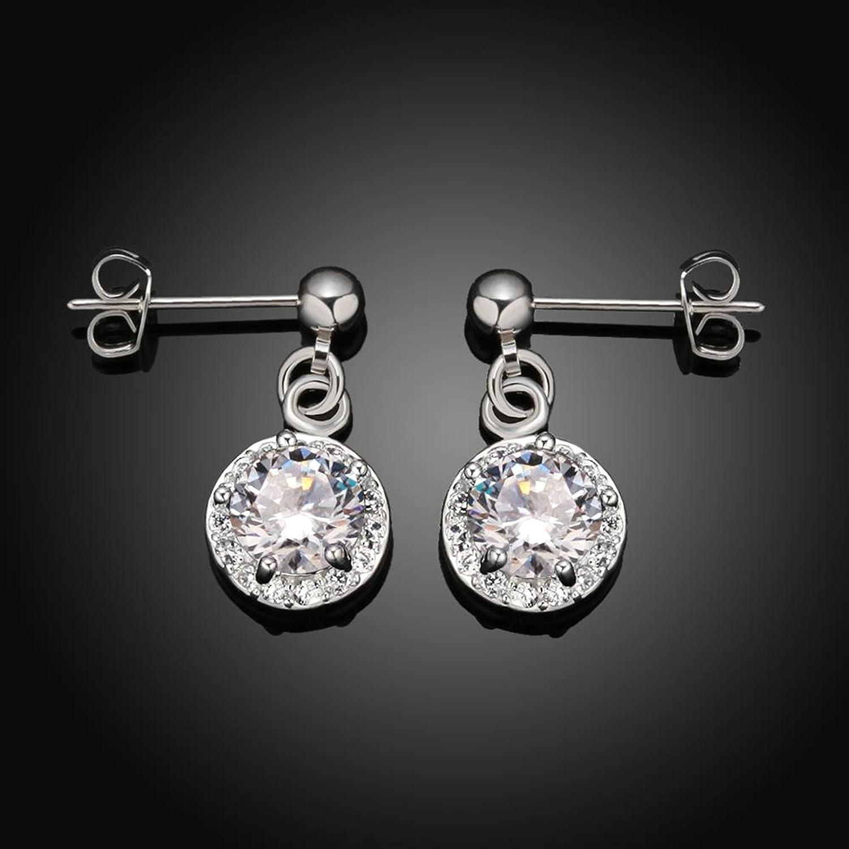 Gnzoe Silver Plated Women Stud Earrings Silver Cubic Zirconia Round