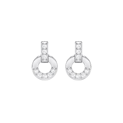 Swarovski Circle Mini Pierced Earrings, White, Rhodium plating