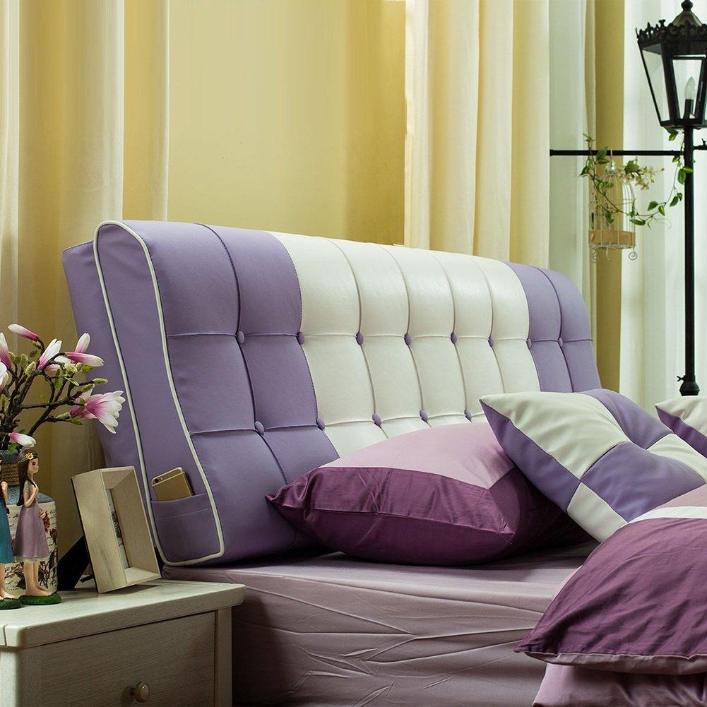 HAIPENG クッション ベッドの背もたれ なし ヘッドボード クッション ベッド バックレスト ベッドサイド カバー 大 布張り 腰椎 パッド ソファー 柔らかい 快適、 12色、 マルチサイズ (色 : Purple, サイズ さいず : 180x12x58cm) B07F58N3YH 180x12x58cm Purple Purple 180x12x58cm