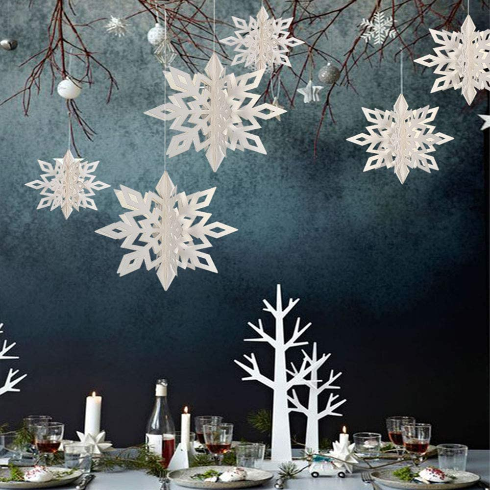 Snowflake Decorations Snowflake garlands or ornaments paper+chipboard Double Sided 13 Snowflake Ornament Die Cuts red-green-white