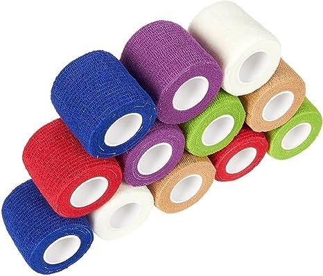Pack de 6 rollos de gasa para vendaje cohesivo para animales 10,16 cm x 66,9 cm Juvale varios colores