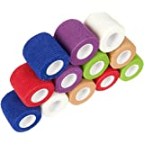 Pack of 12 Vet Wraps - Gauze Rolls - Cohesive Bandage - Bandage Wrap for Animals, Assorted Colors, 2 Inches x 66.9 Inches