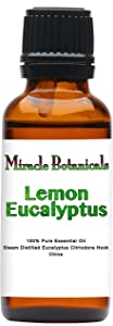 Miracle Botanicals Lemon Eucalyptus Essential Oil - 100% Pure Eucalyptus Citriodora Hook - Therapeutic Grade 30ml
