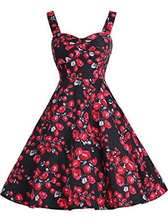 9ecb21f9fc6 DRESSTELLS 1950s Retro Audrey Swing Pinup Rockabilly Dress Pleated Vintage  Dress Black Rose XS