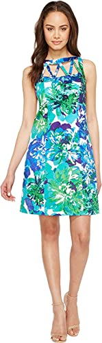 Adrianna Papell Womens Printed Stretch Cotton A-Line Shift Dress
