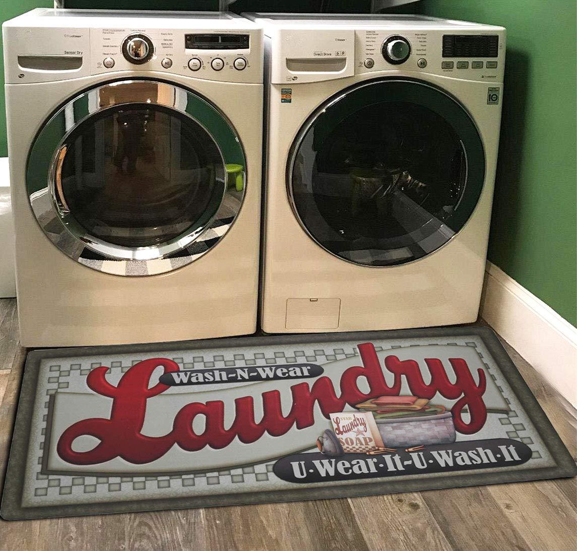 Ukeler Laundry Room Rug, Laundry Room Floor Rug for Wash Room Non Skid Kitchen Floor Mat Non-Slip Rubber Area Rug 2x4