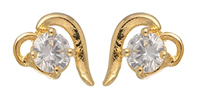 38664b798a7efa Image Unavailable. Image not available for. Colour  Lady Touch Gold Plated  Queen Heart One Diamond Stud Earring ...