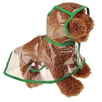Artistic9 Chubasquero con capucha para perro, abrigo de lluvia transparente para mascotas, impermeable,