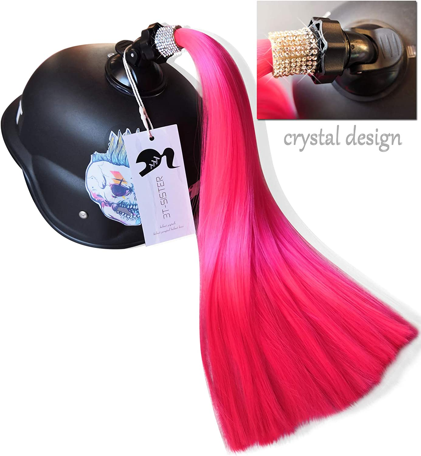 3T-SISTER Crystal Helmet Pigtails 14inch Pink Helmet Ponytail Decoration for Motorcycle Bicycle Ski Helmet Accessories Reusable Suction Cup Rhinestone Design