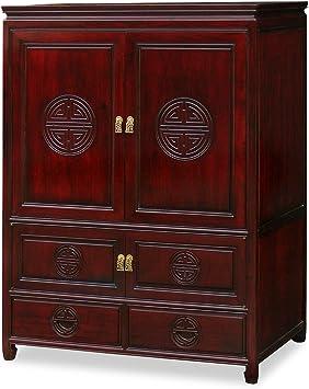 Amazon Com Chinafurnitureonline Rosewood Asian Tv Armoire Longevity Motif In Dark Cherry Finish Furniture Decor