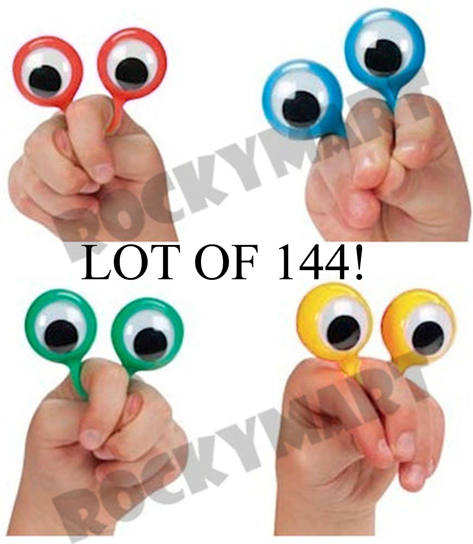 WHOLESALE LOT - *144* Finger Wiggly EYE Puppet Ring - 12 DOZEN - Magic Trick Joke Gag Clown FUN! by ROCKYMART