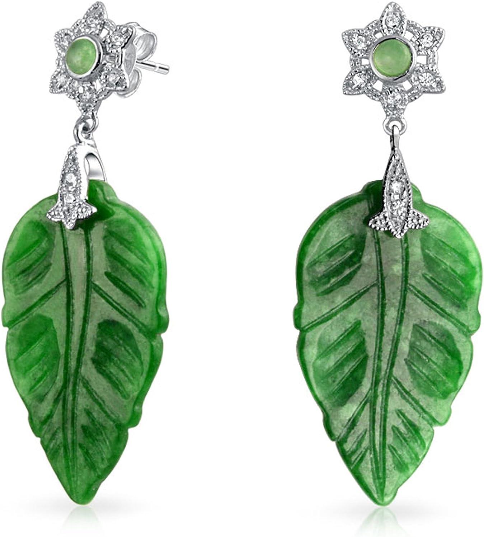 Vintage Style CZ Acento Tallado Teñido De Verde Jade Pendientes De Hoja De Plata Esterlina 925 Mujer