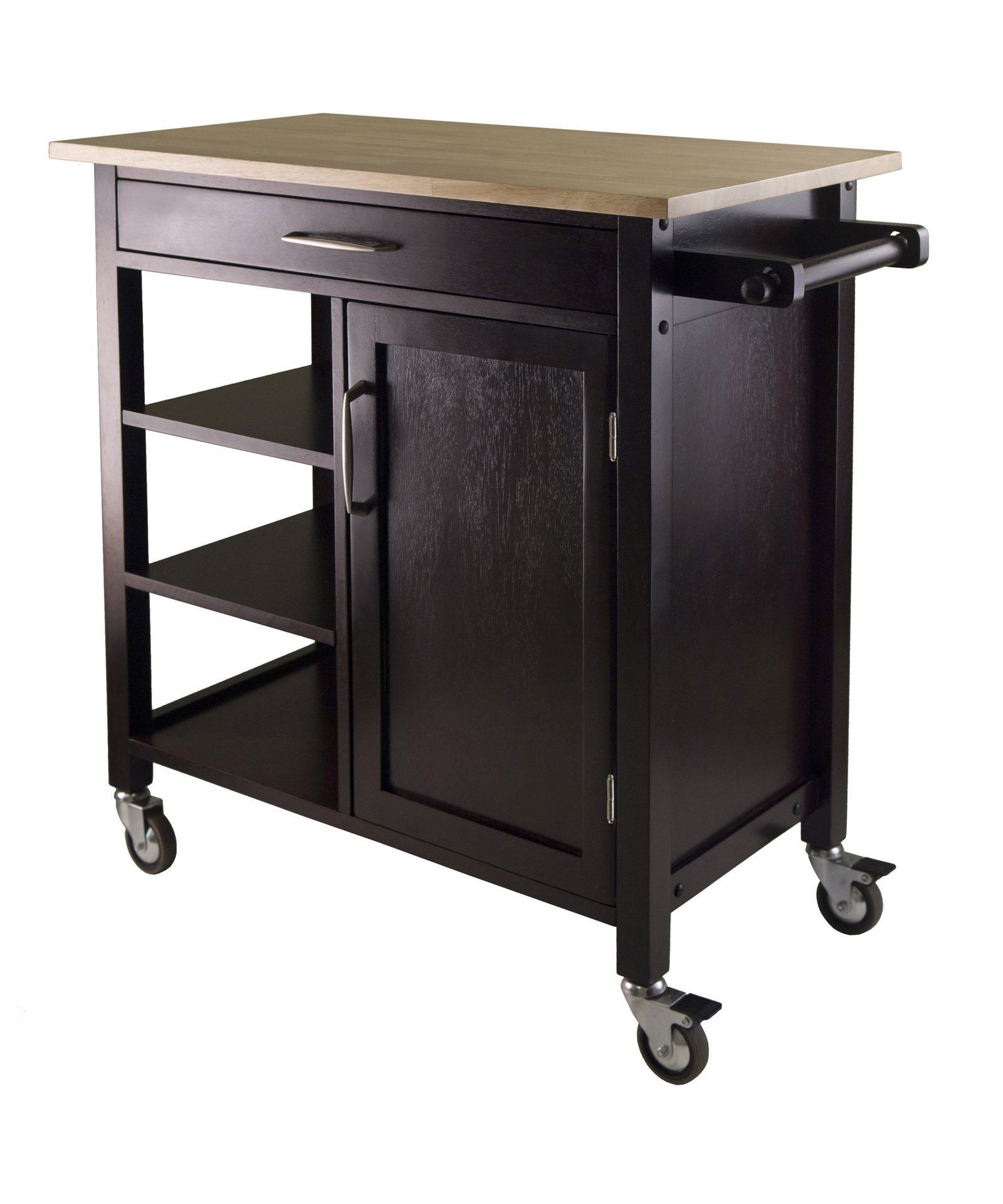 Rolling kitchen cart cabinet island storage trolley counter top wood furniture