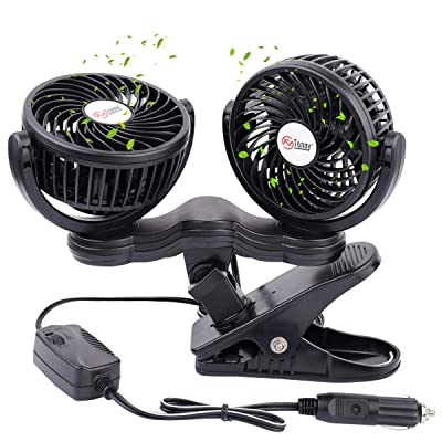 TN TONNY Dual Head Car Fan, 5 Inches Electric Car Clip Fans 360° Rotatable, Car Fan 12V Cooling Air Fan with Stepless Speed Regulation for SUV, RV, Vehicles: Kitchen & Dining