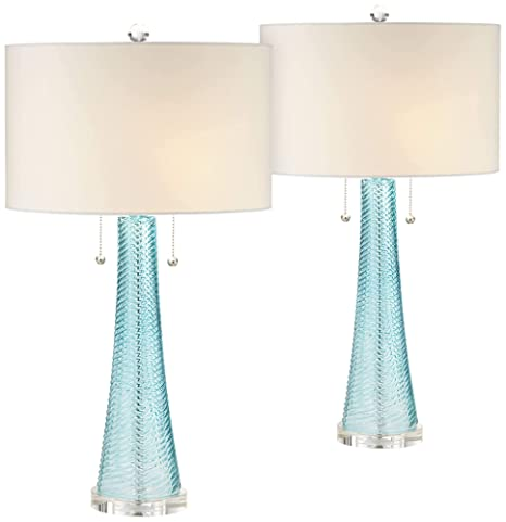 Miriam Modern Table Lamps Set of 2 Light Sky Blue Fluted Glass with Swirl  Pattern White Drum Shade for Living Room Bedroom Bedside Nightstand Office  ...