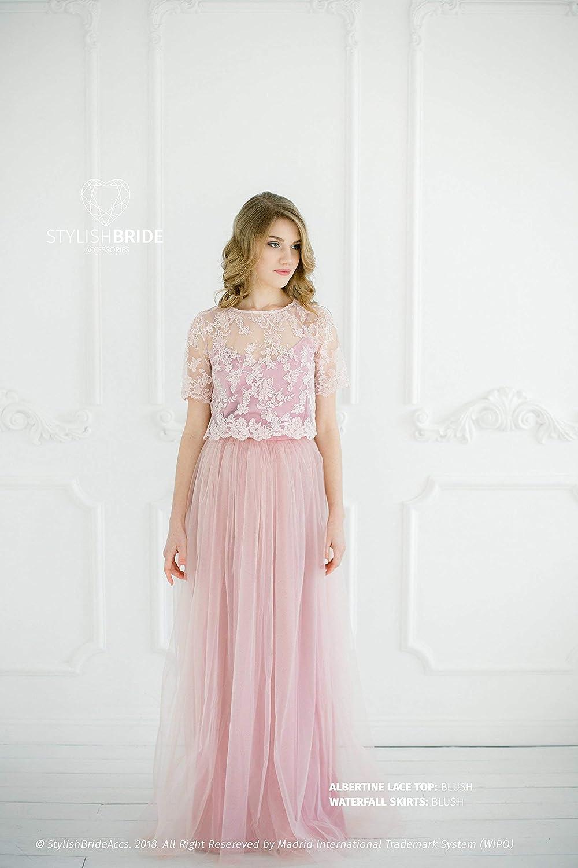 Amazon.com: Blush #8 Albertine Dress, Lace Tulle Dress, Long ...