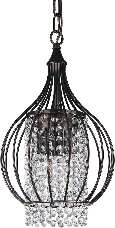 Edvivi 3-Light Antique Bronze Metal Bell Shade Crystal Chandelier Pendant Light Ceiling Fixture Glam Lighting