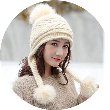 e75791379c9561 Ski Girl Big Fur Pom Poms Ball Scarf Knitted Winter Hat Beanie Hat Thick  Skullies,
