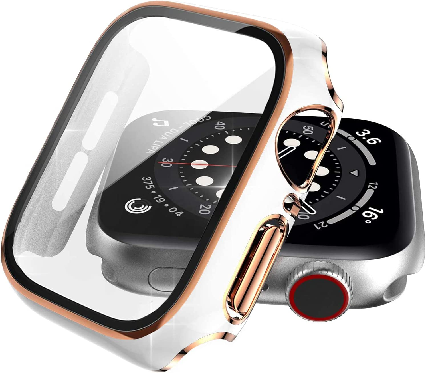 Choiche Compatible Apple Watch Case 42mm Series 3 / 2 / 1 with Screen Protector Accessories, White Defense Bumper with Rose Gold Edge Designed Full Coverage Guard Cover for Women Men iWatch
