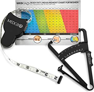 Body Fat Caliper and Measuring Tape for Body - Skinfold Calipers and Body Fat Tape Measure Tool for Accurately Measuring BMI Skin Fold Fitness and Weight-Loss - Upgraded (Black)
