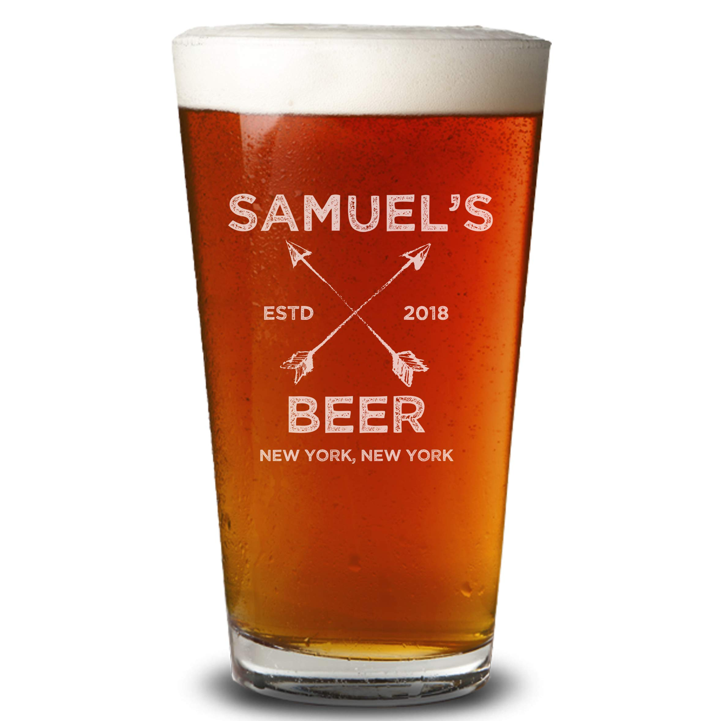Personalized Etched 16oz Pint Glass