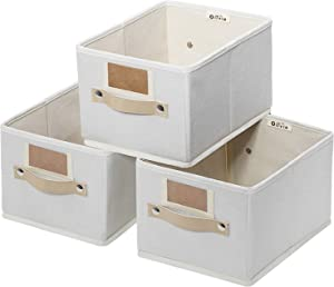 OLLVIA Foldable Storage Bins Set of 3, Rectangle Baskets for Organizing, Storage Basket with Labels, Decorative Organizer Bins for Shelves, Fabric Closet Storage Bins Box for Home|Office 11.4x8.7x6.7""