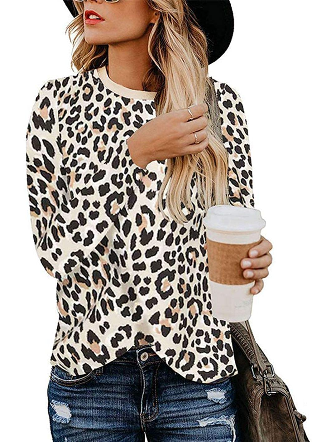 Naivikid Womens Leopard Print Tops Long Sleeve Round Neck Casual T Shirts Blouse S-2XL