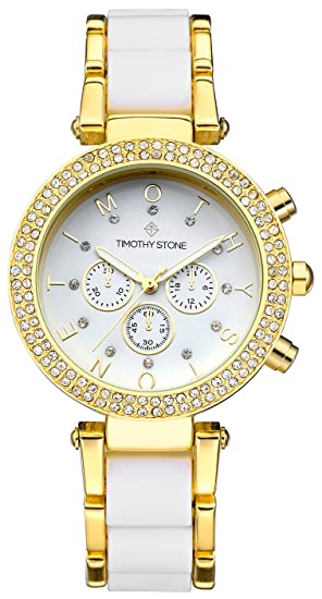 Timothy Stone Collection Desire Bicolor - Reloj de Cuarzo para Mujer, Color Oro/Blanco