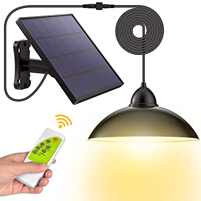 Solar Lights, LOZAYI Outdoor Solar Lights, IP65 Waterproof 16.4Ft Cord Remote Control Led Shed Light Pendant Light with 270°Wide Adjustable Solar Panel for Home Yard Garden Decorate-Warm White
